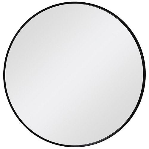 Decor Wonderland Thompson 28 in. x 28 in. Round Black Metal Framed Wall Mirror
