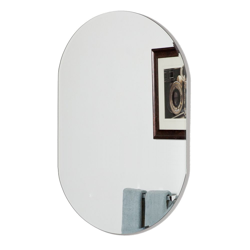 Decor Wonderland Khloe XL 40 po x 24 po Miroir mural moderne biseauté ovale avec deux supports de montage