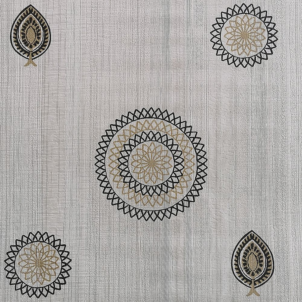 Dundee Deco Falkirk McGowen 35.5 sq. ft. Peel and Stick Grey Beige Black Round Shapes, Leaves Wallpaper