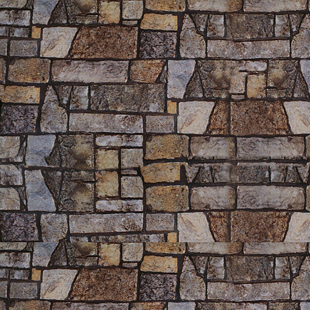Dundee Deco Falkirk McGowen 35.5 sq. ft. Peel and Stick Grey Brown Orange Blue Stone Wallpaper