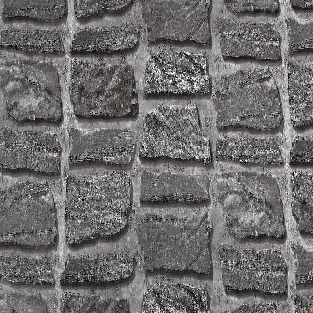 Dundee Deco Papier peint auto-adhésif, Falkirk McGowen, 35.5 pi², Pierre vieux charbon gris