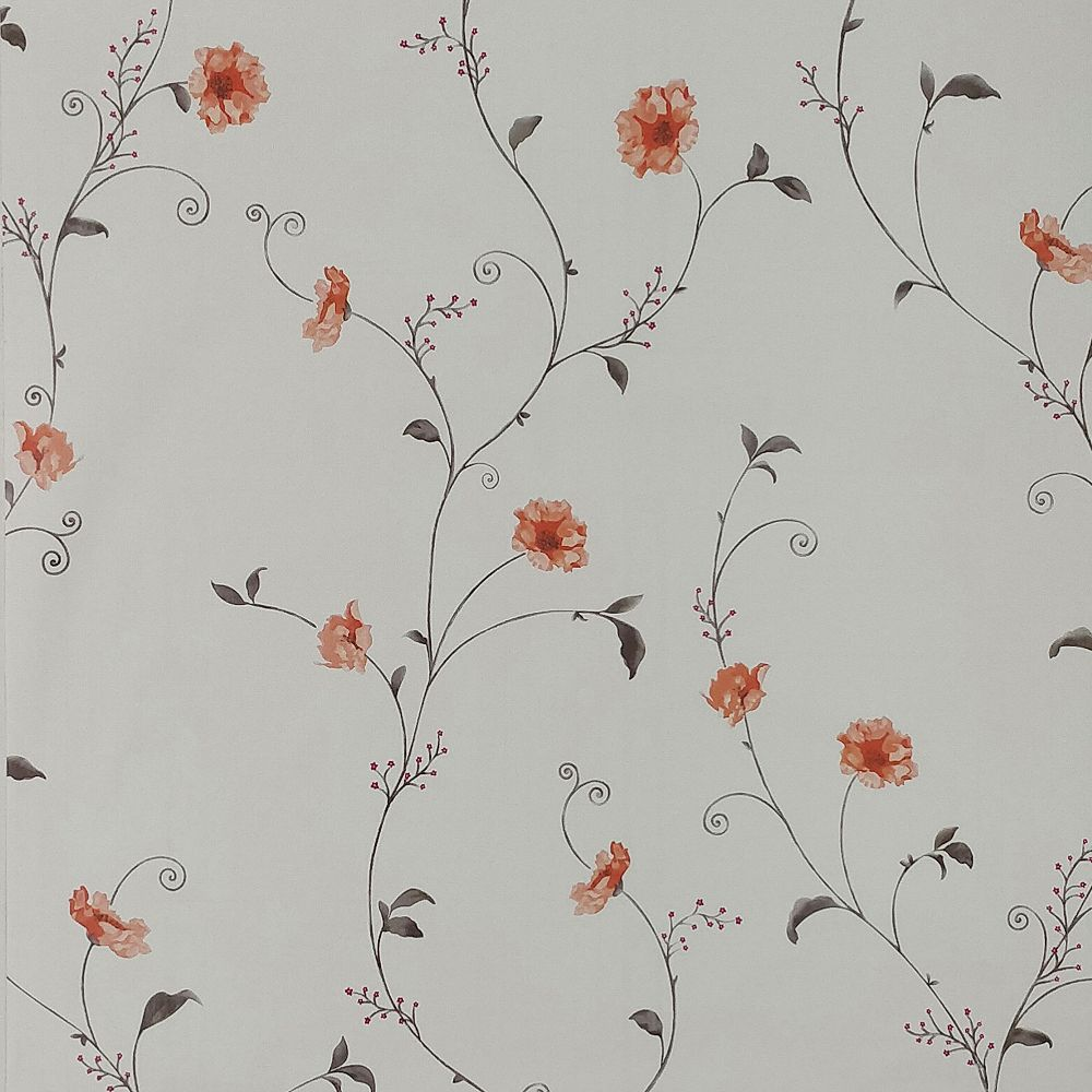 Dundee Deco Falkirk McGowen 26.6 sq. ft. Peel and Stick Light Grey Red Flowers on Vine Wallpaper