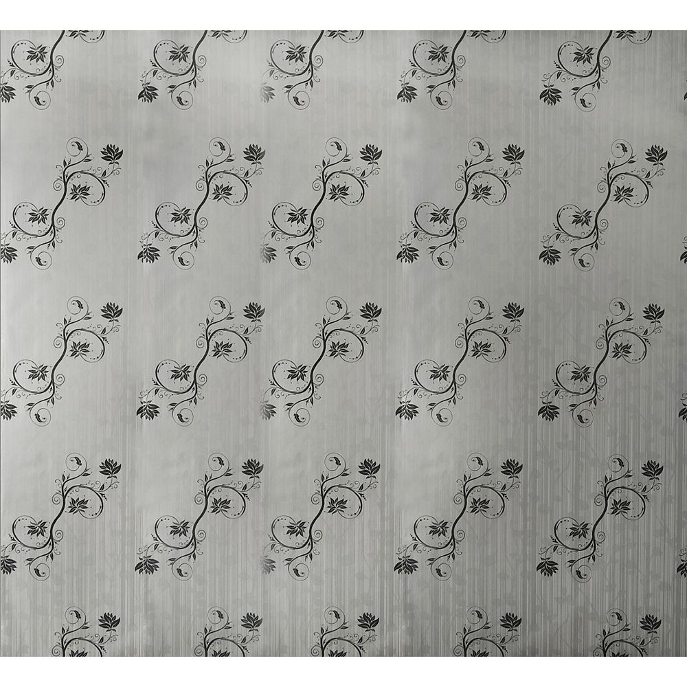 Dundee Deco Papier peint auto-adhésif, Falkirk McGowen, 26.6 pi², vignes noir blanc cassé