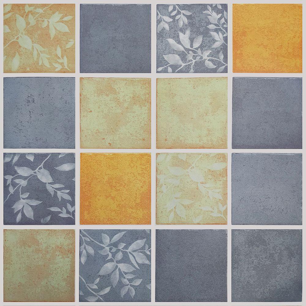 Dundee Deco Papier peint auto-adhésif, Falkirk McGowen, 36 pi², feuilles carrés or étain rouillé vert