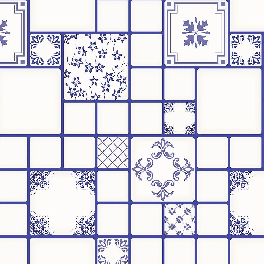 Dundee Deco Papier peint auto-adhésif, Falkirk McGowen, 36 pi², formes en carrés bleu blanc