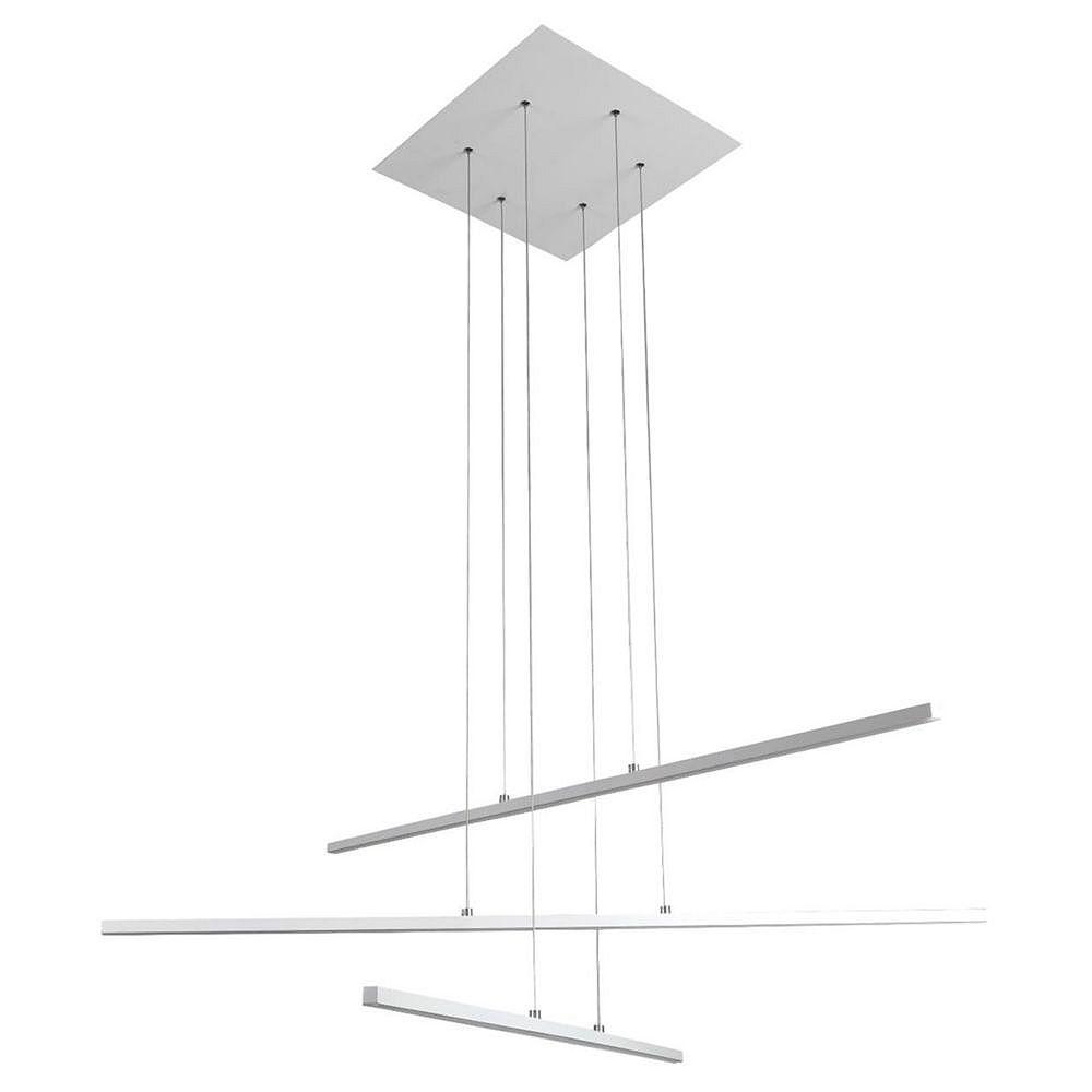 Living Design Lustre À Led Intégré Blanc Mat À 3 Lumières Avec Bâtonnets De Suspension