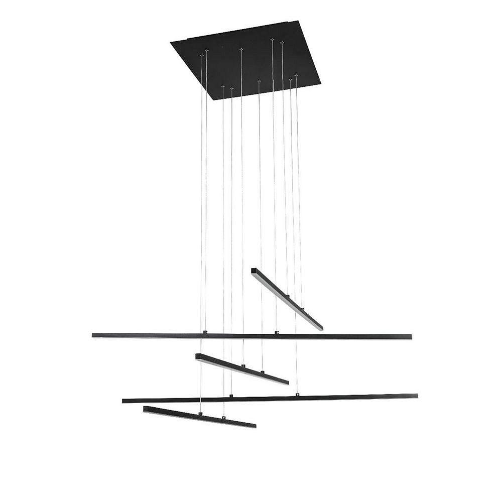 Living Design Lustre À Del Intégré Noir Mat À 5 Lumières Avec Bâtonnets De Suspension