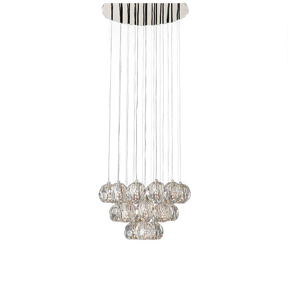 Living Design 23-Light Polished Nickel Chandelier With Hanging Clear Crystal Balls