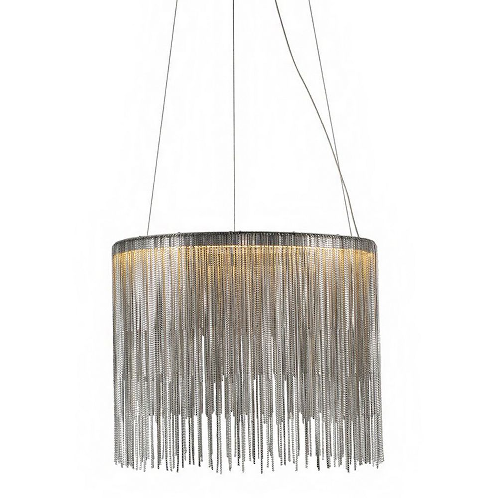 Living Design 16-inch Chrome Integrated Led Chandelier With Aluminium Chain