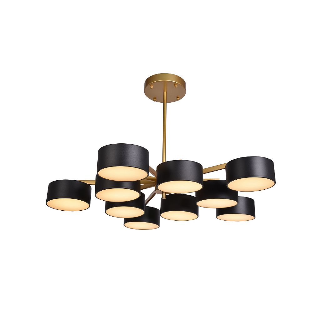 Living Design Lustre À Led Intégré Or 10 Lumières Avec Teintes Noires