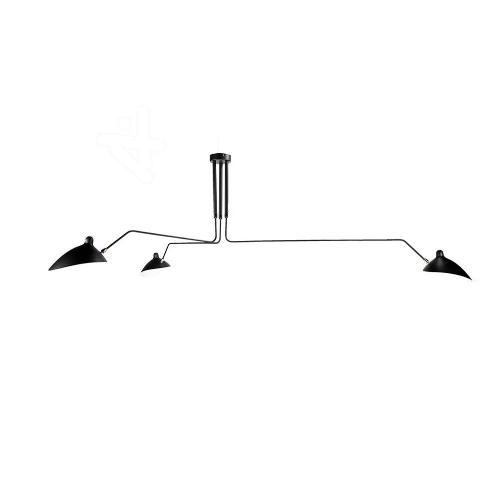Living Design Montage Semi-Encastré À 3 Lumières Noir Avec Teintes Aluminium