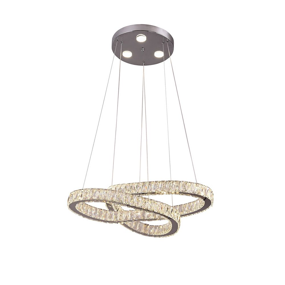 Living Design 30-inch Chrome Integrated Led Chandelier With Clear Crystal Double Twisted Ring