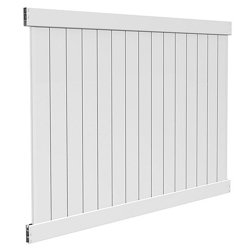 6X8' with 5.5'' top rail, White vinyl fence privacy panel kit