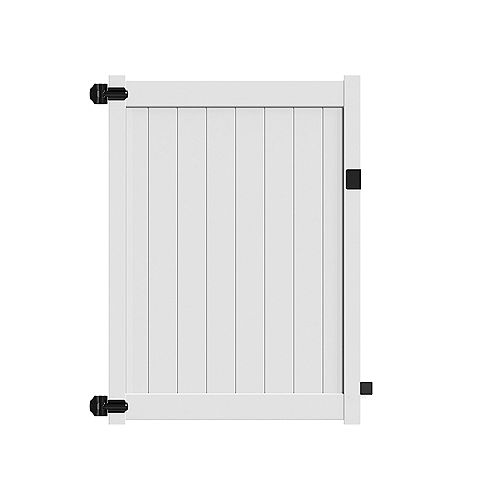 """6X58"""" with 5.5'' top rail, White vinyl fence privacy walk gate"""