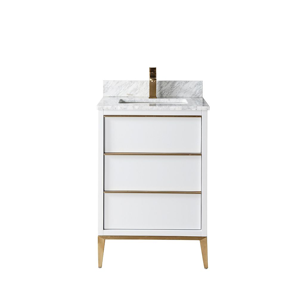 Jade Bath Amelie 24 inch Vanity with Carrara Marble Countertop, Grey Finish and Brushed Gold Hardware