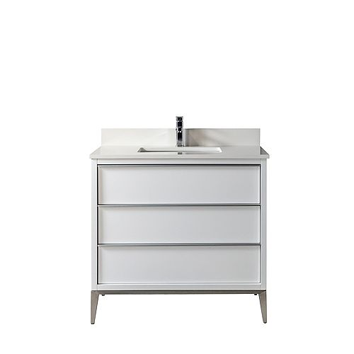 Jade Bath Amelie 36 in. Vanity with White Quartz Countertop, White Finish and Brushed Nickel Hardware