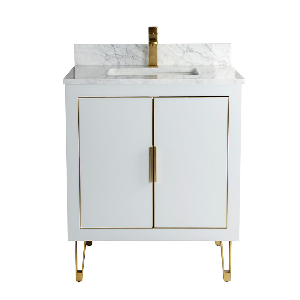 Jade Bath Estelle 29 inch Vanity with Carrara Marble Countertop, Grey Finish and Brushed Gold Hardware