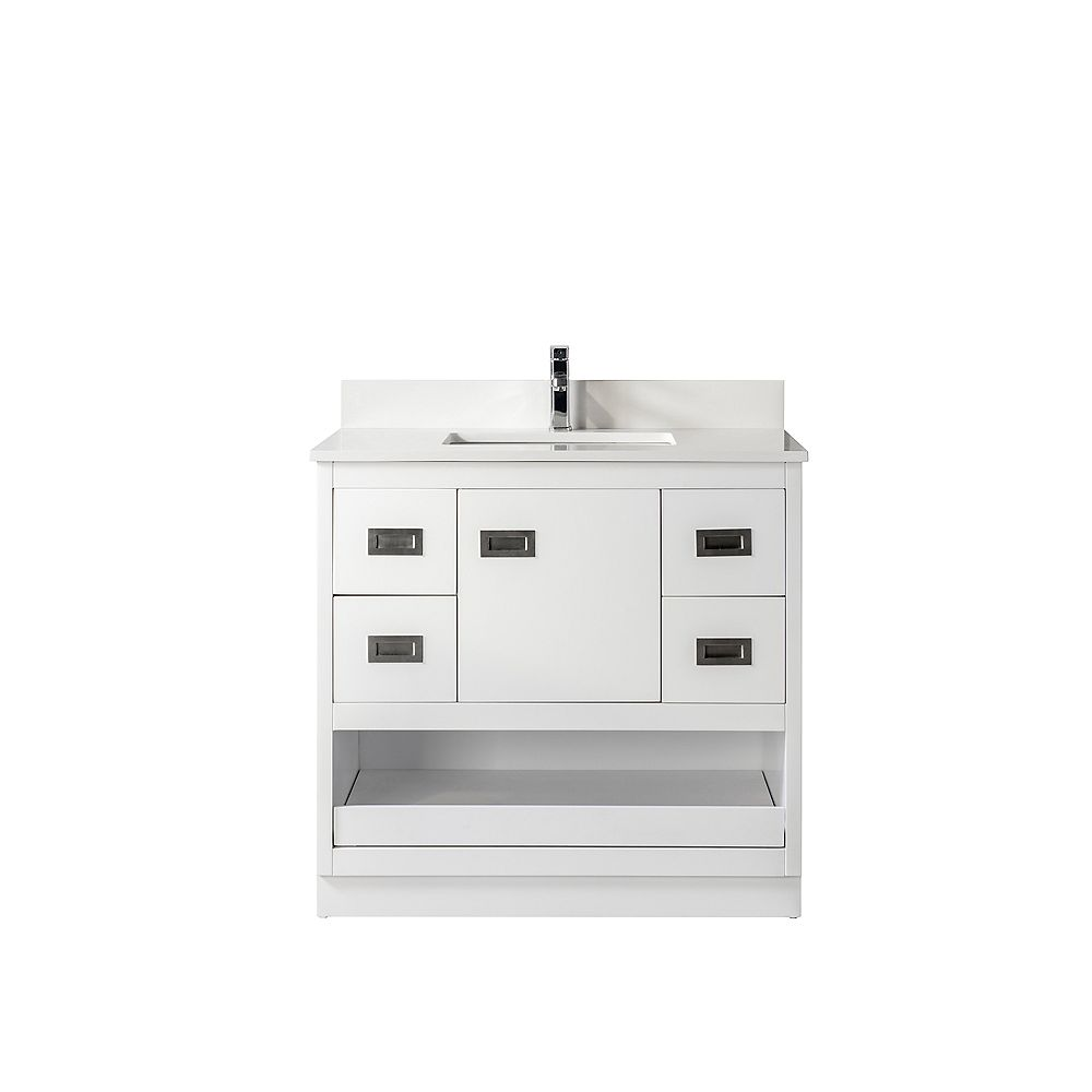 Jade Bath Lisette 36 in. Vanity with White Quartz Countertop, White Finish and Brushed Nickel Hardware