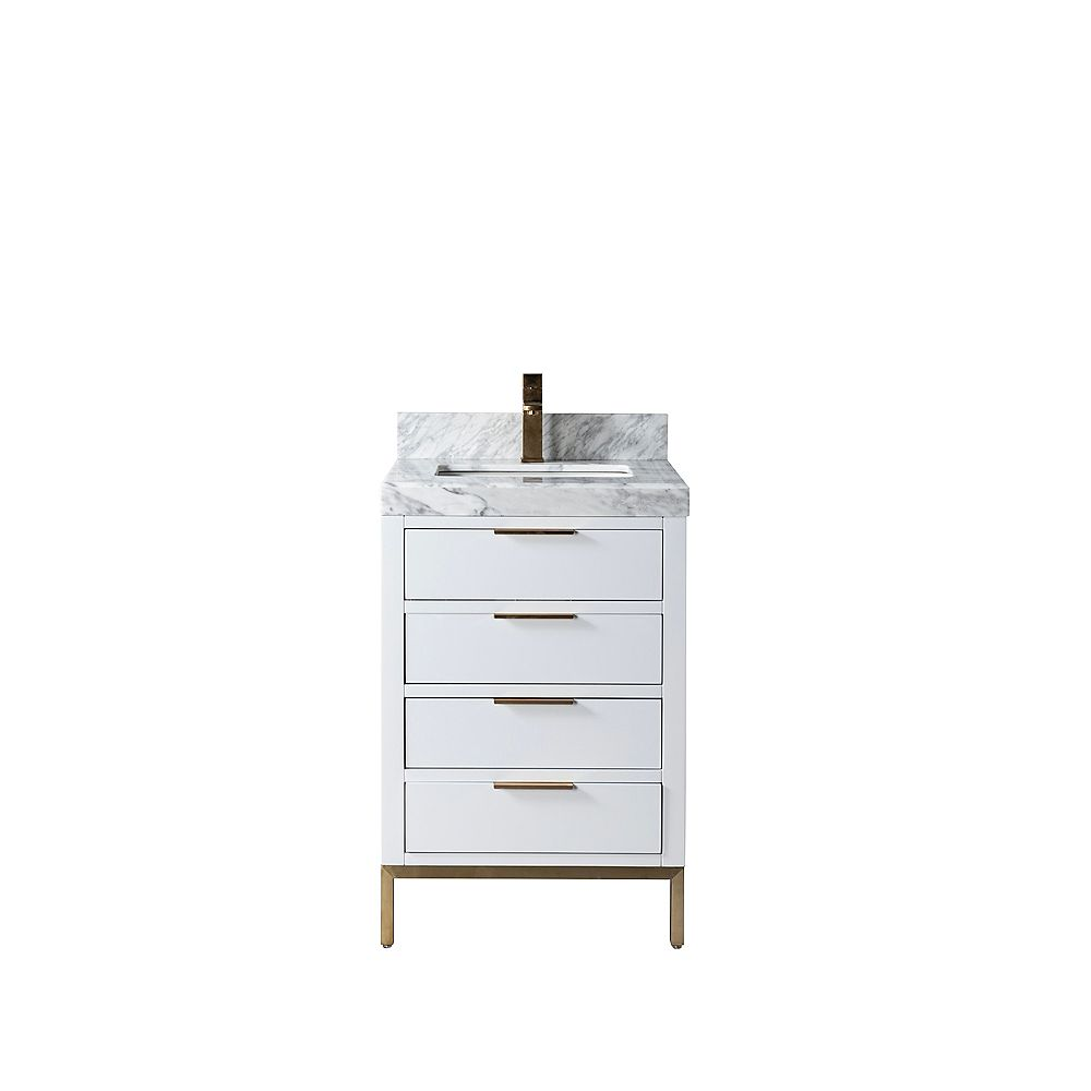 Jade Bath Eloise 23 inch Vanity with Carrara Marble Countertop, Grey Finish and Brushed Gold Hardware