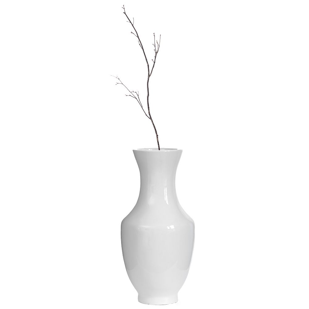 Uniquewise Modern Dining Trumpet Floor Vase, For Entryway and Living Room, White Fiberglass 22 inch