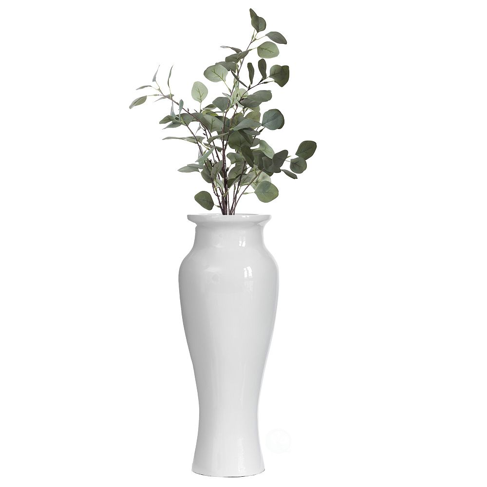 Uniquewise Modern Dining Trumpet Floor Vase, For Entryway and Living Room, White Fiberglass 24 inch