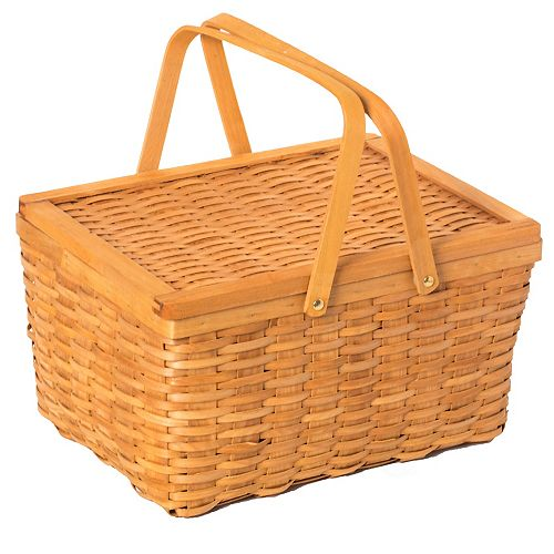 Woodchip Picnic Storage Basket with Cover and Movable Handles, Large