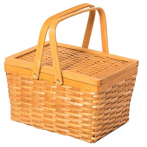 Woodchip Picnic Storage Basket with Cover and Movable Handles, Small
