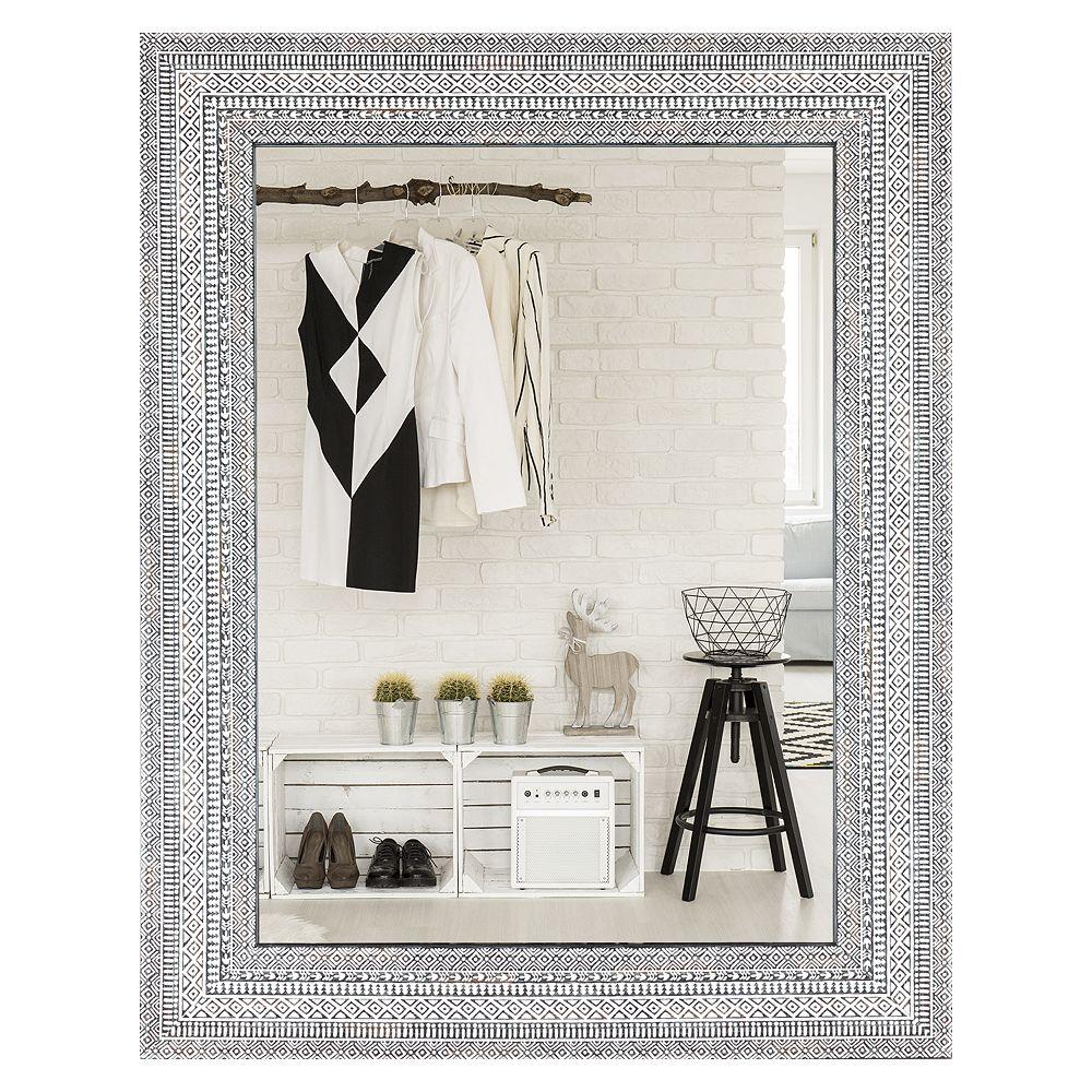Art Maison Canada 27,5 x 35,5 pouces miroir mural bohème blanc et gris grand décor moderne d'accent