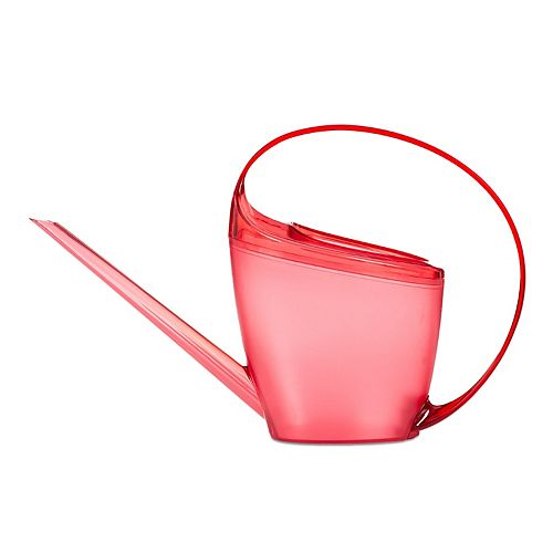 LOOP Plastic Watering Can Clear Red 1.4L