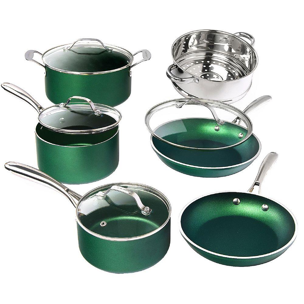 Granite Stone Diamond Batterie de cuisine 10 pièce vert émeraude ultra durable infusée de minéraux et diamants