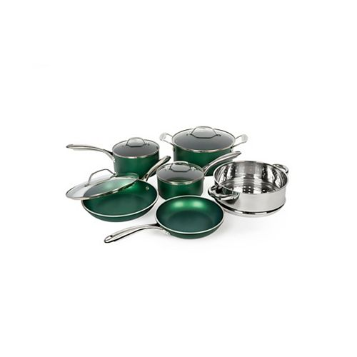 10-Piece Emerald Green Ultra-Durable Nonstick Mineral and Diamond Infused Cookware Set