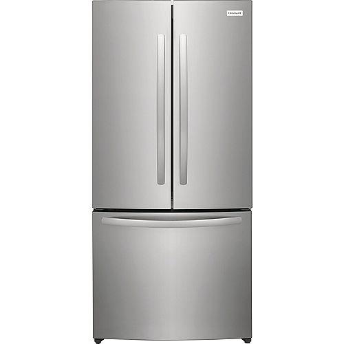 Réfrigérateur à portes françaises à profondeur de comptoir de 17,6 pi³ en Acier brossé