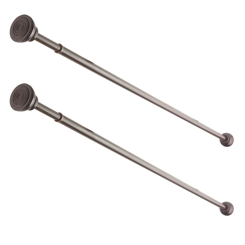 """Rod Desyne 7/16"""" Dia Adjustable 36"""" to 54"""" Decorative Spring Tension Rod in Cocoa (Set of 2)"""
