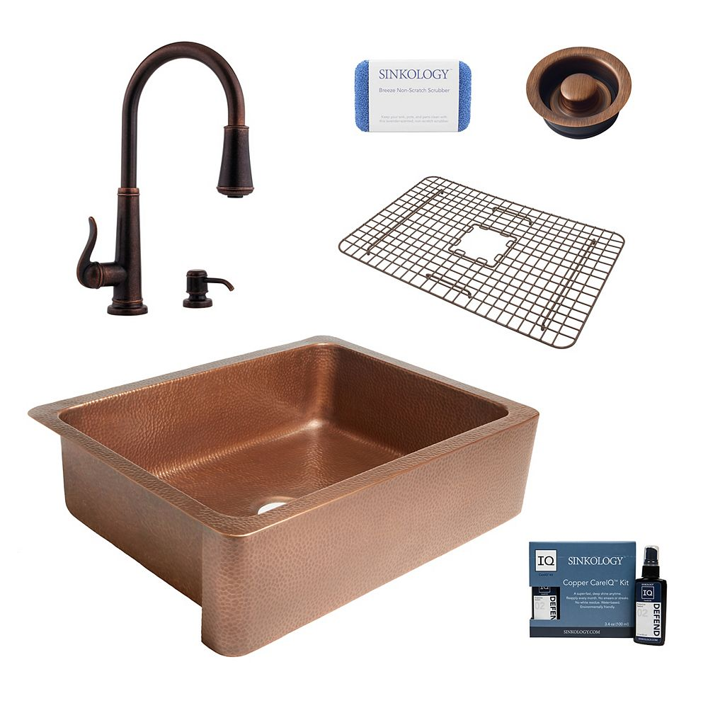 Sinkology Évier de cuisine Courbet Farmhouse en cuivre de 30 po à cuve simple et robinet et drain d'évacuation