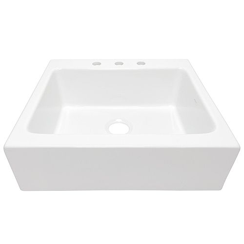 Anna Quick-Fit Drop-in Farmhouse Fireclay 26 in. 3-Hole Single Bowl Kitchen Sink in Crisp White