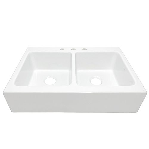 Parker Quick-Fit Drop-in Farmhouse Fireclay 34 in. 3-Hole Double Bowl Kitchen Sink in Crisp White