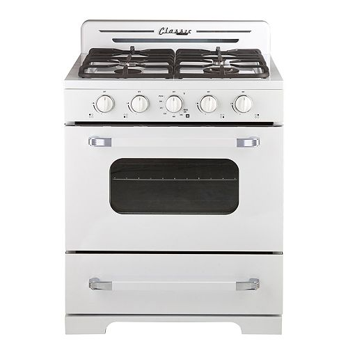 30 in. 3.9 cu. ft. Classic Retro Propane Off-Grid Range with Battery Ignition in Marshmallow White