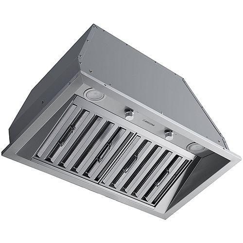 Hotte de cuisine encastrable à conduit de 28 po 600 pi3/min en acier inoxydable