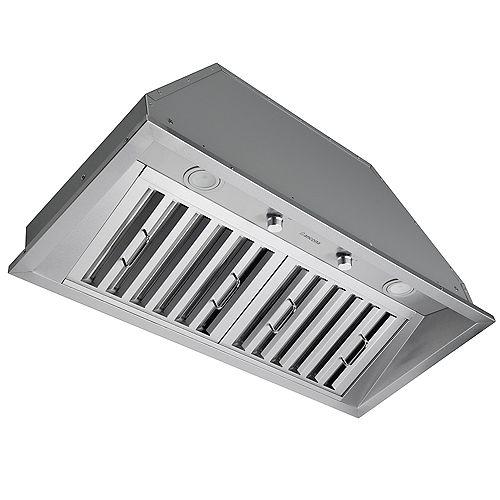Hotte de cuisine encastrable à conduit de 34 po 600 pi3/min en acier inoxydable