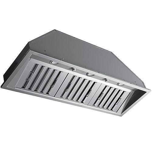 Hotte de cuisine encastrable à conduit de 46 po 600 pi3/min en acier inoxydable