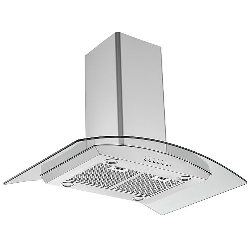 """Ancona 36"""" 450 CFM Convertible Island Glass Canopy Range Hood in Stainless Steel with Auto Night Light"""