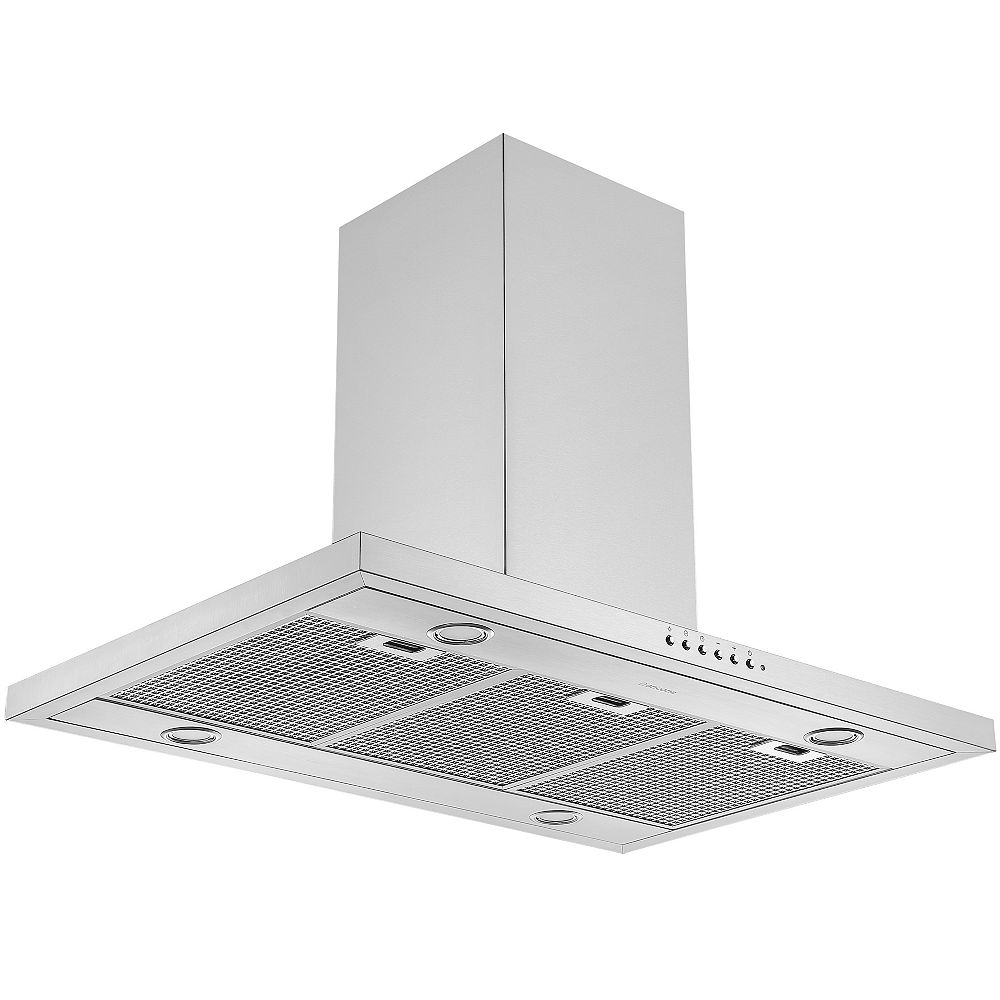 """Ancona 36"""" 650 CFM Convertible Island Range Hood in Stainless Steel with Auto Night Light Feature"""