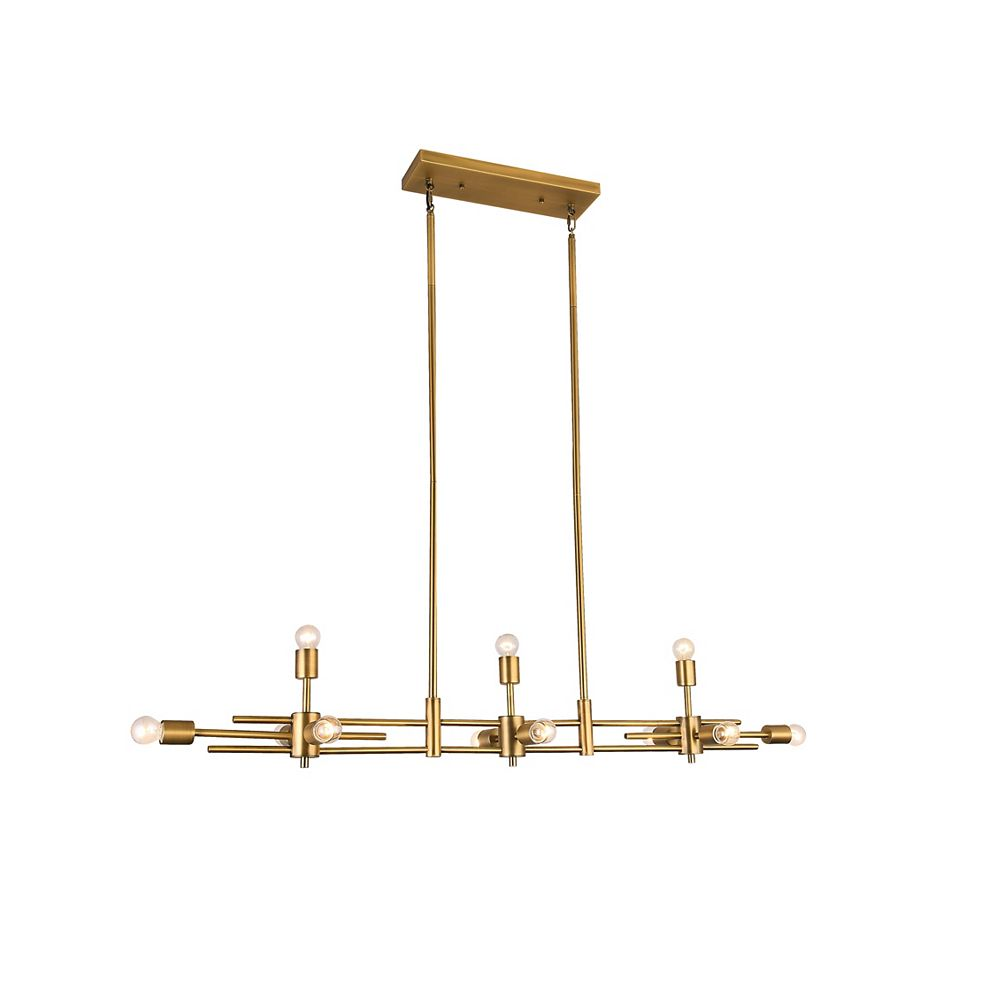 Living Design Lustre En Laiton Mat 11 Lumières Avec Ampoules Visibles