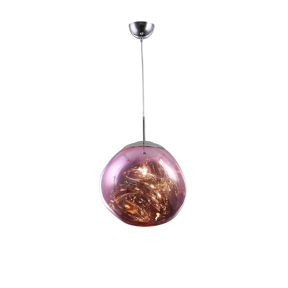 Living Design Pendentif Chromé À 1 Lumière 14 Pouces Avec Abat-Jour En Acrylique Orbe Rose