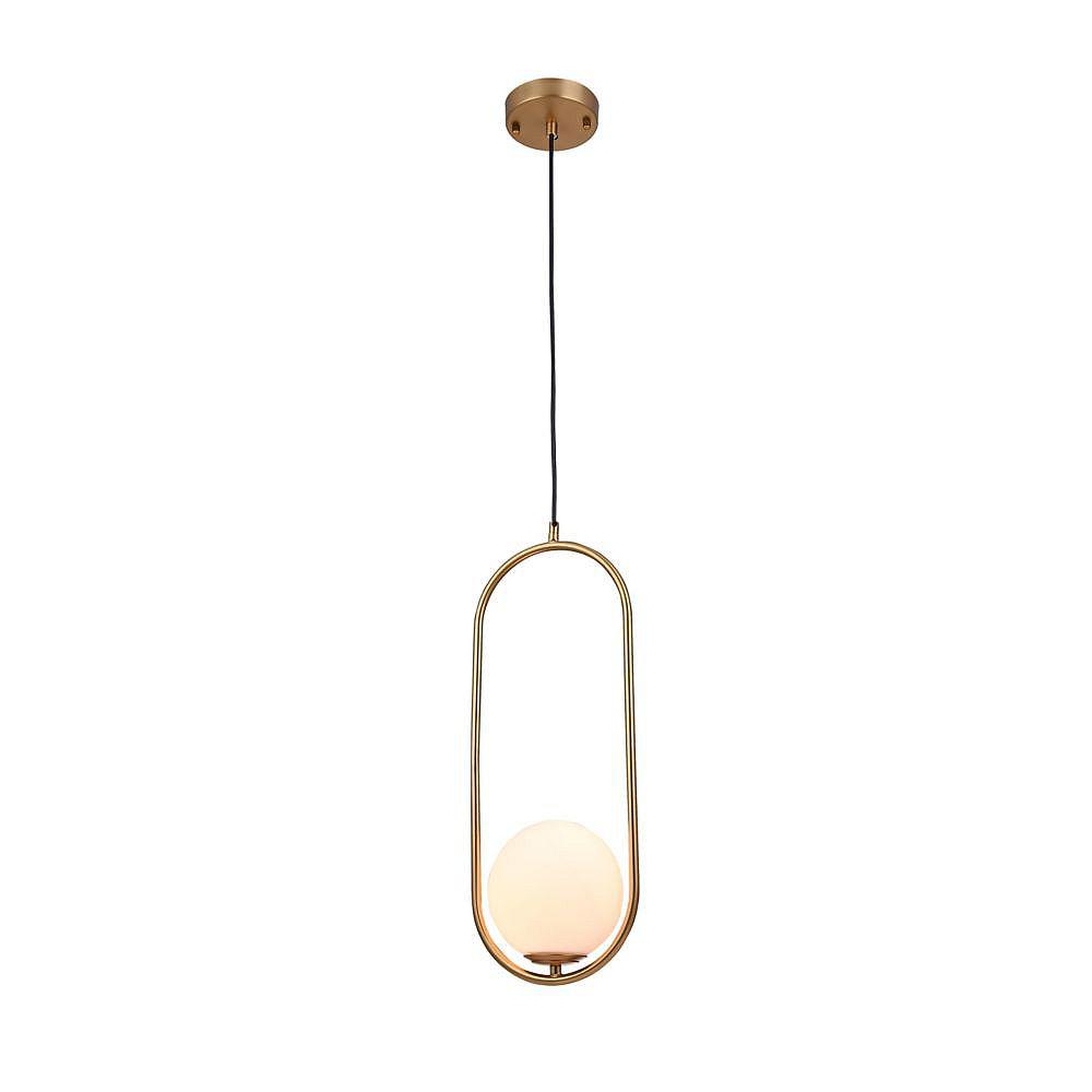 Living Design Pendentif En Or 7,8 Pouces À 1 Lumière Avec Abat-Jour En Verre Blanc Lait