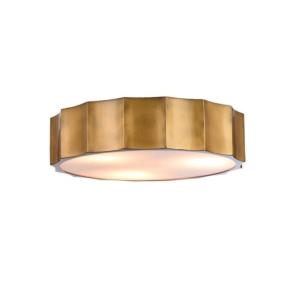 Living Design Montage En Laiton À 4 Lumières Avec Couvercle De Bas En Acrylique Blanc