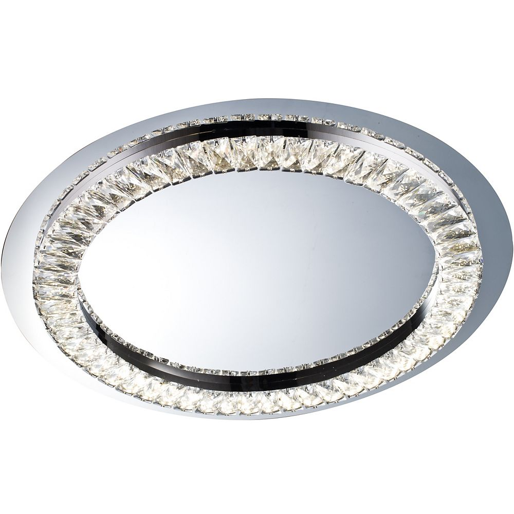 Living Design 23-inch Clear Crystal Led Flushmount With A Stainless Steel Frame