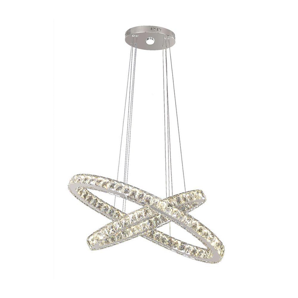 Living Design Lustre À Led Intégré Chromé De 35 Pouces Avec Bague En Cristal Transparent