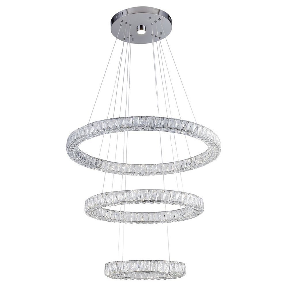 Living Design 31.5-inch Chrome Integrated Led Chandelier With Triple Sided Clear Crystal