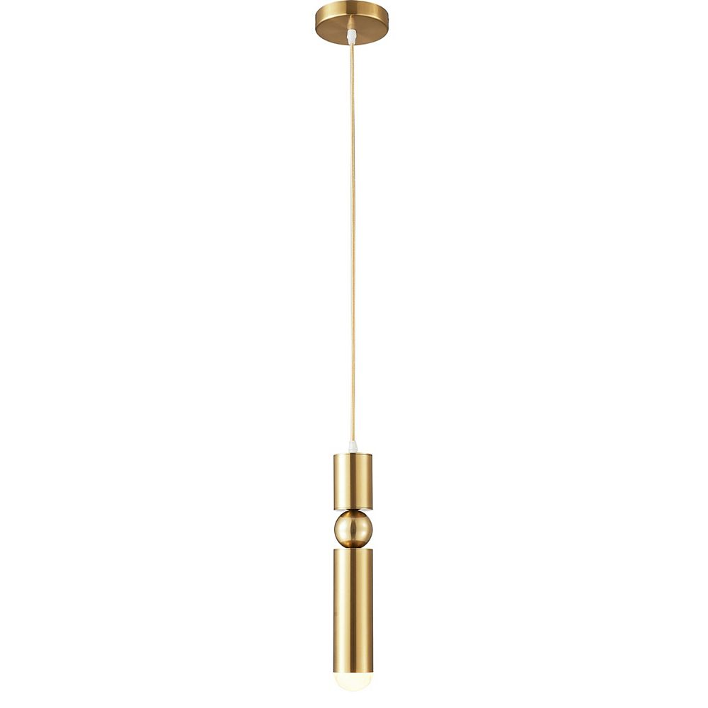 Living Design 1-Light Brass Single Pendant With A Rounded Base Tip